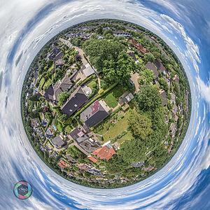 Little Planet Effekt eines Vororts von Hamburg