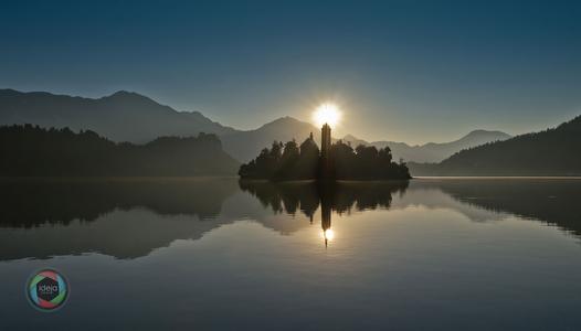 Sonnenaufgang in Bled, Slowenien