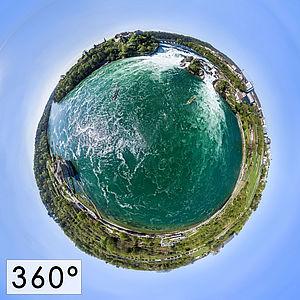 360° HDR Luftaufnahme des Rehinfalls in der Schweiz