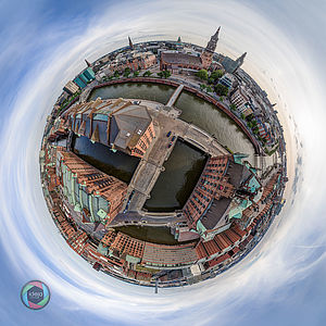 Little Planet Effekt der Hamburger Speicherstadt