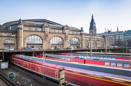 Langzeitbelichtung des Hamburger Hauptbahnhofs