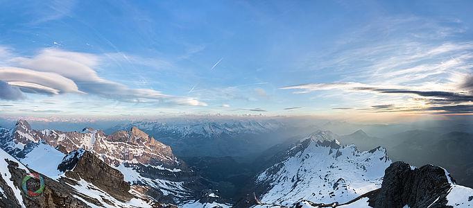 HDR Bergpanorama Sonnenuntergang Säntis Schweiz