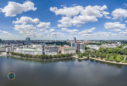 HDR Luftaufnahme der Binnenalster in Hamburg