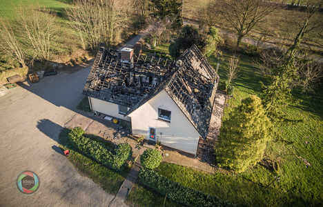 Niedergebranntes Haus